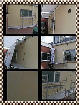 Woning in Winschoten , muur achterhuis de scheuren gerepareerd en gesausd Schildersbedrijf Klein Westerlee